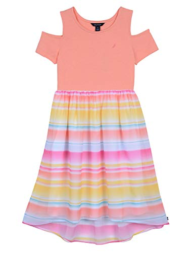 Nautica Girls' Cold Shoulder Fashion Dress cold floral coral pink L12/14