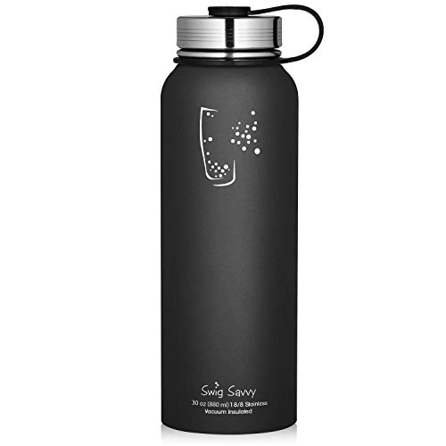 SWIG SAVVY Water Bottles Stainless Steel - Vacuum Insulated Water Bottle + Stainless Steel Leak & Sweat Proof Cap Double Wall Thermos Flask for Hot or Cold Beverages (Black, 30oz)