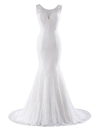 Changuan Womens Mermaid Wedding Dresses For Bride Lace Bridal Gown With Train Ivory1 10