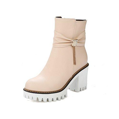 AgooLar Damen Eingelegt Hoher Absatz Rund Zehe PU Reißverschluss Stiefel Cremefarben