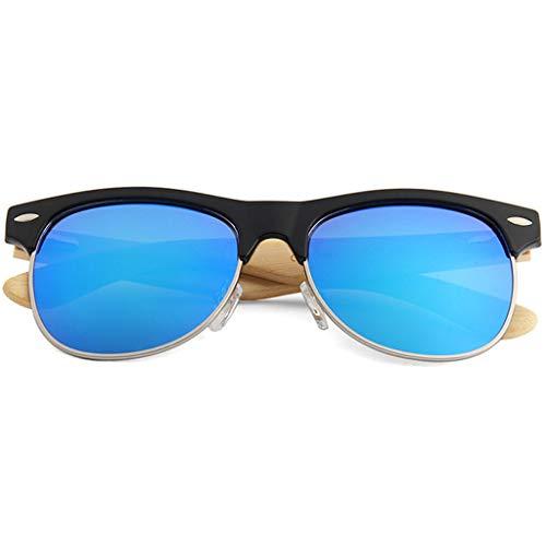 Cadre Les de Lunettes Soleil moitié Soleil Bleu Lunettes Mode Femmes Lunettes Lunettes Couleur pour Bleu colorées de des Les Bambou lentilles avec Hommes polarisées Bambou et nqrEE0x7w