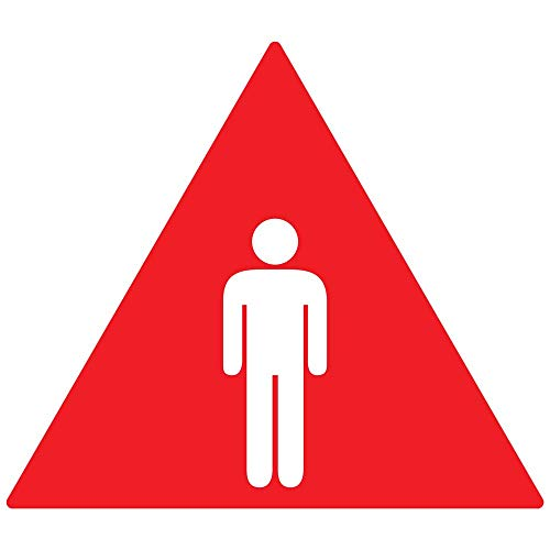 Men's Symbol Restroom Door Tactile Sign, 12 in. White on Red Acrylic with Adhesive Mounting Strips by ComplianceSigns ()
