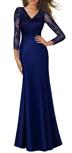 HOMEYEE Women's 1920s Wedding Party Cocktail Lace Bridesmaid Maxi Dress A019 (6, Dark Blue)