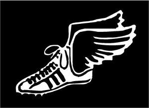 [Tennis Shoe With Angel Wings Track Runner Vinyl Decal Sticker|WHITE|Cars Trucks SUV Laptops Wall Art|5.5