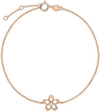 ダイヤモンド K18ピンクゴールド 桜 さくら ブレスレット レディース ギフトラッピング済 誕生日 記念日 プレゼント ギフト