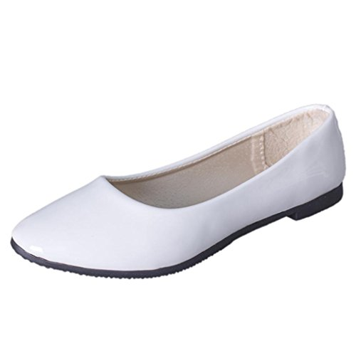 LANDFOX Mujeres Señora Flat Punta Punta De Pie Deslizamiento De Cuero En Loafers Casual Zapatos Blanco