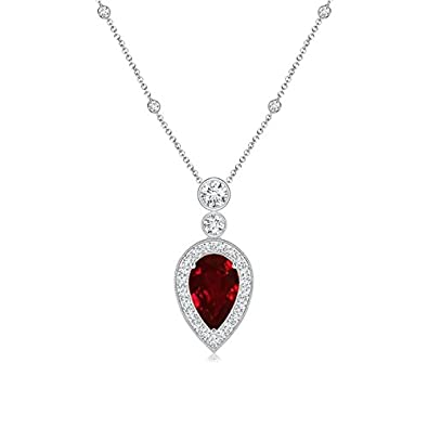 Angara Pear Diamond Ruby Necklace in Platinum - July Birthstone Pendant xUj8ltYgug