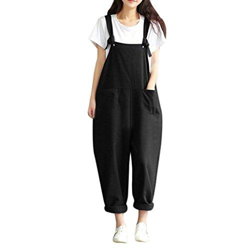 PHOTNO Strap Belt Bib Pants Women Plus Size Loose Jumpsuit Overalls Pants Trousers (XXXL, Black)