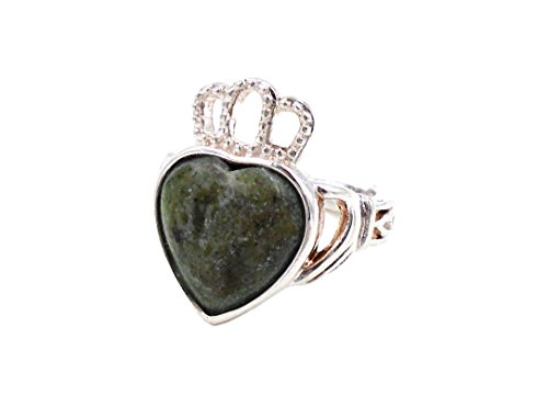 Irish Connemara Marble Claddagh Heart Ring #1040-8