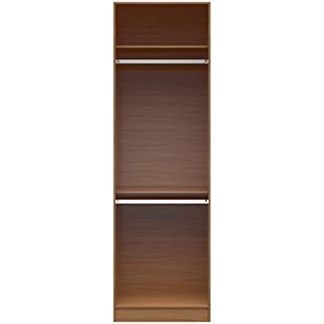 Manhattan Comfort Chelsea 1 0 Collection Doorless Standing Closet Wardrobe Cabinet With Double Hanging Rods And Storage Shelf 27 55 W X 21 25 D X 90 55 H Maple Cream