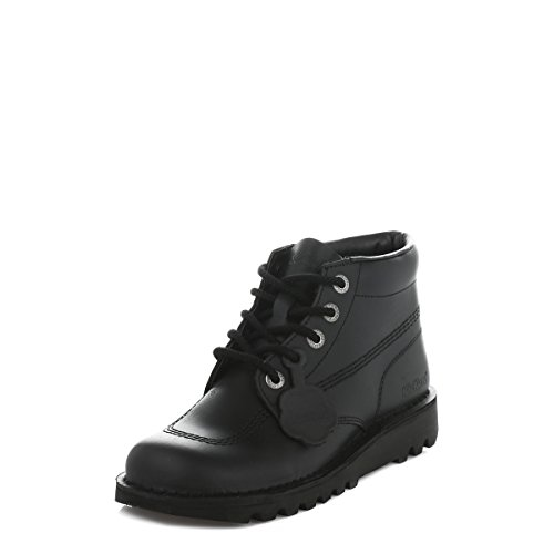 Kickers Kick Hi Core Youth Black Leather Ankle Boots-UK 5