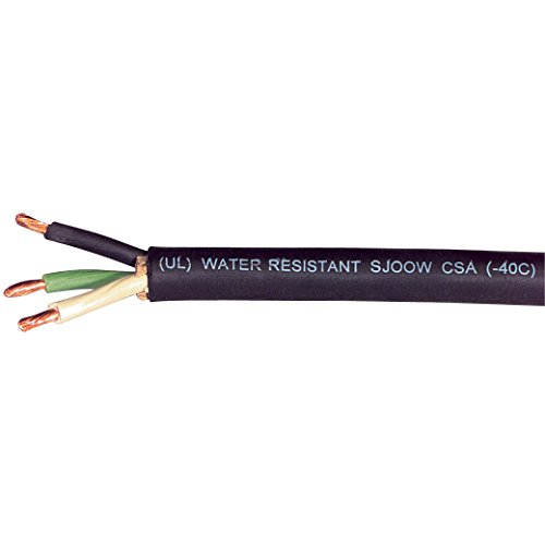 Carol 01380.15.01 SJOOW Portable Cord, Carolprene Jacketed Type SJOOW, 90 Degree C, 300V UL/CSA Portable Cord, 12/3 SJOOW, 250' SPL, Black by Carol