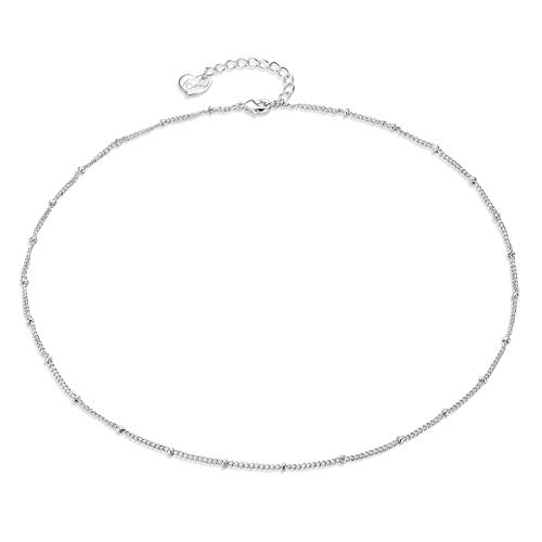 (Befettly Silver Plated Beads Choker Necklace Delicate Handmade 14k Gold Fill Chain Necklace CK2-Two-Silver)