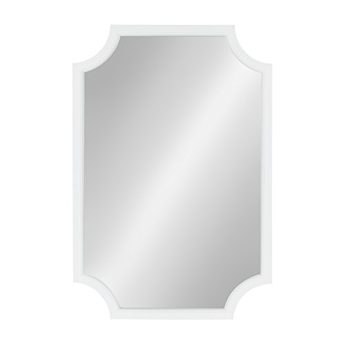 Mirror Scalloped White - Kate and Laurel Hogan Scallop Corners Wood Framed Mirror, 24 x 36, White