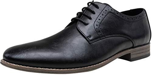 JOUSEN Men's Oxford Plain Toe Dress Shoes Classic Formal Derby Shoes(9.5,Black) ()