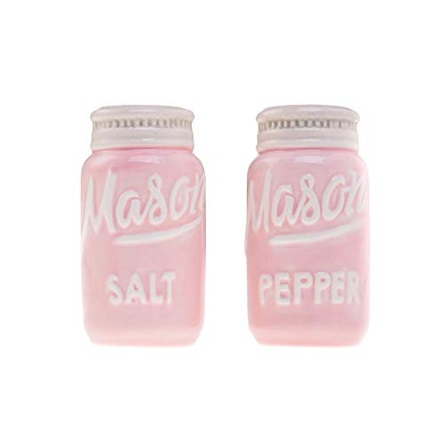 Pink Mason Jar Salt and Pepper Shakers - Kitchen Ceramic Shakers - Retro and Farmhouse Decor - Dishwasher and Microwave Safe - Set of 2 - Baking Supplies- Rustic Home Accessory and Gifts by Goodscious