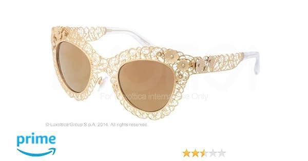 Dolce & Gabbana DG2134 Sunglasses-02/F9 Antique Gold (Brown Mirror  Gold)-47mm