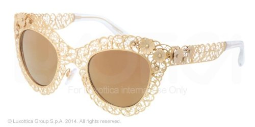 f6d244850375 Image Unavailable. Image not available for. Color  Dolce   Gabbana DG2134  Sunglasses-02 F9 Antique Gold (Brown ...