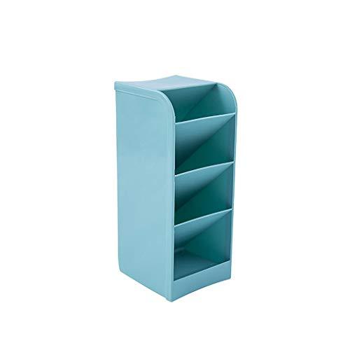 Ktyssp Creative Four Grid Can Be Inserted Oblique Pen Holder Pencil Pen Holder Stationery Desk Container Storage Box Office Desktop Organizer (Blue) (Living World Egg Biscuit)