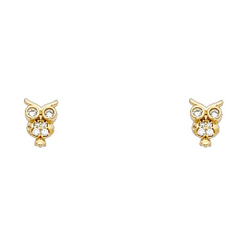 Owl 14k Gold Yellow (14k Yellow Gold Owl Stud Earrings with Screw Back)