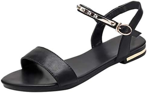 LONGDAY ❤ Women's Cute Open Toes One Band Ankle Strap Flexible Summer Flat Sandal New Flat Buckles Glitter Low Heel