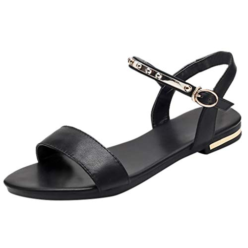 Claystyle Women's Cute Open Toes One Band Ankle Strap Flexible Summer Flat Sandals New(Black,US: 6.5)