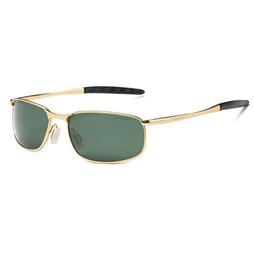 (AEVOGUE Polarized Sunglasses for Men Rectangle Metal Frame Retro Sun Glasses AE0395 (Gold&G15, 59))