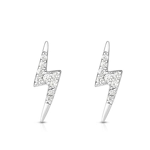 ilver Cubic Zirconia Lightning Bolt Post Designer Earrings. (rhodium-plated-silver) ()