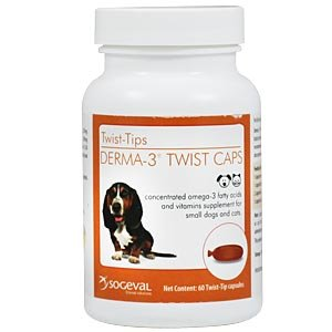 Derma-3 Twist Caps For Small Dogs and Cats, 60 Capsules by Sogeval Laboratories