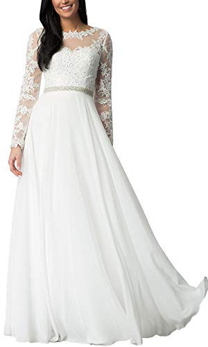 Aofur Womens Long Sleeve Chiffon Party Evening Dress Formal Wedding Prom Cocktail Ladies Lace Maxi Dresses (X-Large, White)