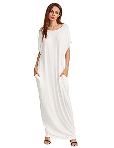 Verdusa Women's Short Sleeve Casual Loose Long Maxi Dress with Pockets White L -