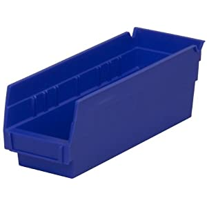 Akro-Mils 30120 12-Inch by 4-Inch by 4-Inch Plastic Nesting Shelf Bin Box, Blue, Case of 24