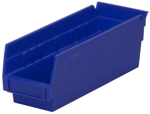 Akro-Mils 30120 12-Inch by 4-Inch by 4-Inch Plastic Nesting Shelf Bin Box, Blue, Case of 24 ()
