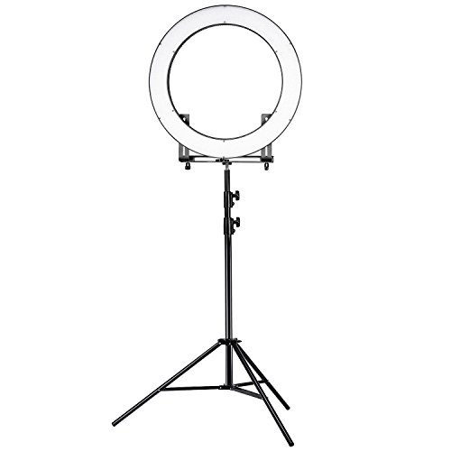 Neewer DVR-160TVC 19 inches Ring Light and Stand Lighting Kit - SMD LED Ring Light(3200-5600K,95+)with 4 Quarters ON/OFF Switch, 9 feet Stand for Makeup, Portrait Photography and Video Recording by Neewer