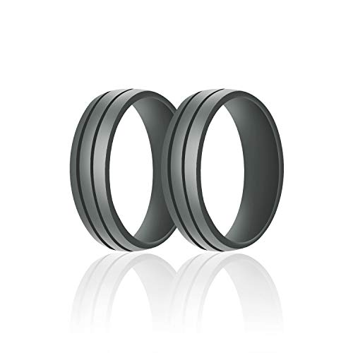 (SANXIULY Mens Silicone Wedding Ring&Rubber Wedding Bands for Workout and Active Athletes Width 8mm Pack of 2 Color Dark Grey Size 9)