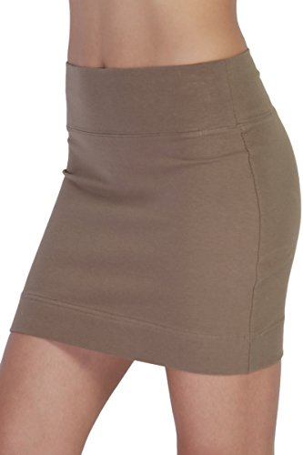 TheMogan Women's Stretch Cotton/Spandex Stretch Comfortable Mini Skirt Mocha S Sexy Lycra Mini Skirt