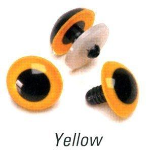 Animal Eyes with Plastic Washers - Yellow - 12mm - 100 (Yellow Animal Eyes)