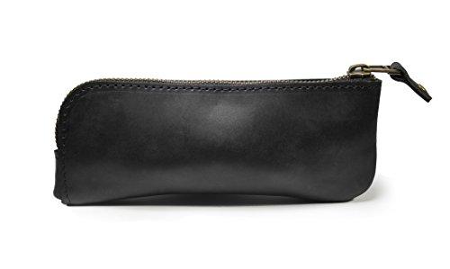 Designer Eyeglass Case - Leather eyeglass case, reading glass case, leather sunglass sleeve case (Black)