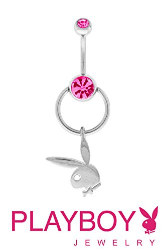 Officially Licensed Pink Steel Playboy Bunny rabbit Slave Doorknocker Dangle Belly navel Ring piercing bar body jewelry 14g (Rings Belly Button Bunny)
