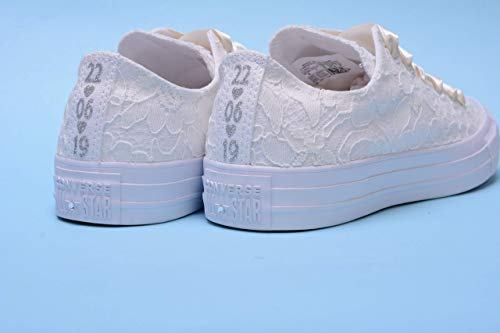 Personalized Ivory Wedding Sneakers For Bride, Personalised Bridal Trainers, Monogrammed Bride Tennis Shoes -