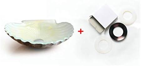 洗面ボール シェルシェイプバスルームシンク強化ガラスホワイトベッセルシンク洗面-Vesselシンクセット 洗面ボール・洗面器 (色 : White, Size : A)