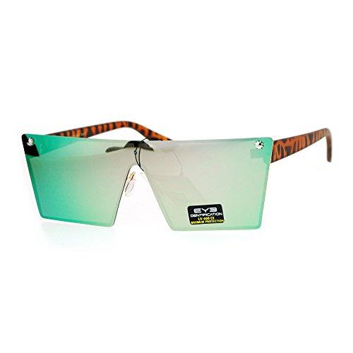 Futuristic Fashion Sunglasses Back Rims Trapezoid Frame Tort, Pink Green - Futuristic Rims
