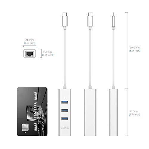 LENTION USB-C to 3-Port USB 3.0 Hub with Gigabit Ethernet LAN Adapter Compatible 2020-2016 MacBook Pro 13/15/16, New Mac Air/Surface/iPad Pro, Chromebook, More - Ultra Slim (CB-C23s, Silver)