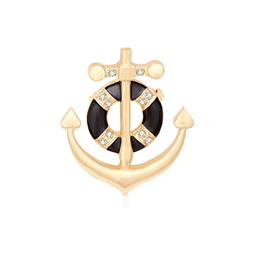 MANZHEN Exquisite Gold Silver Crystal Nautical Sailor Navy Rudder Sailboat Anchor Brooch Pin (Anchor Gold)