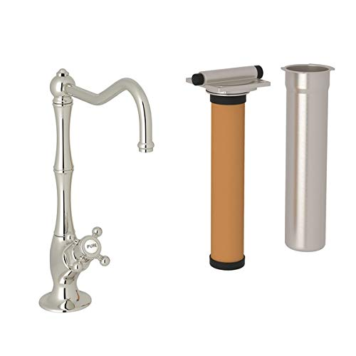 Rohl AKIT1435XMPN-2 Country Single Handle Kitchen Filter Faucet with Column Spout and Mini Metal Cross Handle, Polished Chrome Country Kitchen Column Spout Filter