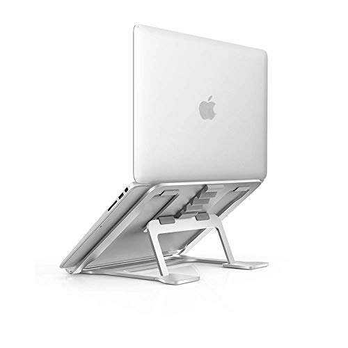 - Aluminum Laptop Stand Adjustable, Compatible with Apple Mac MacBook Pro/Air 10 to 15.6 Inch Notebook, Ventilated Portable Ergonomic Desktop Holder Riser for Office Desk, Metal Silver Soundance AS1