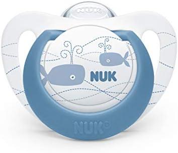 NUK 10177124 Genius Color - Chupete de silicona (forma adaptada a la mandíbula, 18-36 meses, 2 unidades), color azul y verde