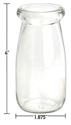 Mantello Vintage Milk Bottles Mini Glass Favor Jars with Cork Top, Party Wedding Baby Favors, Bud Vases (Set of 12)