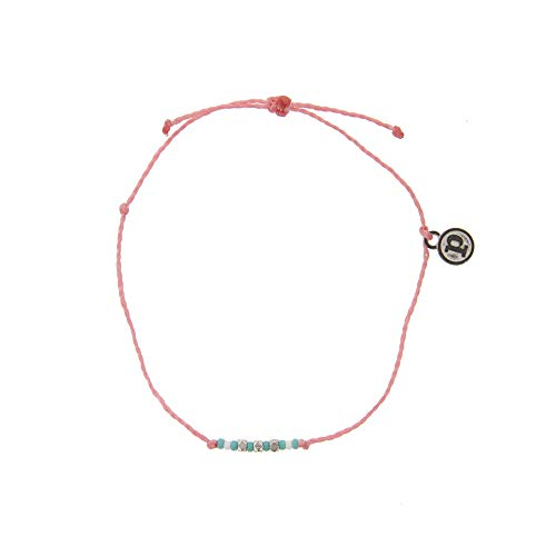 Pura Vida Silver Delicate Seed Bead Pink Bracelet - Plated Brand Charm, Adjustable Band - 100% Waterproof from Pura Vida