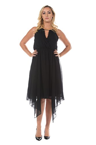 Women's Black Handkerchief Style Hem Grecian Goddess Evening Dance Party Dress (3XL) -